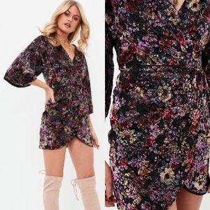 Missguided Black Velour Floral Print Mini Dress